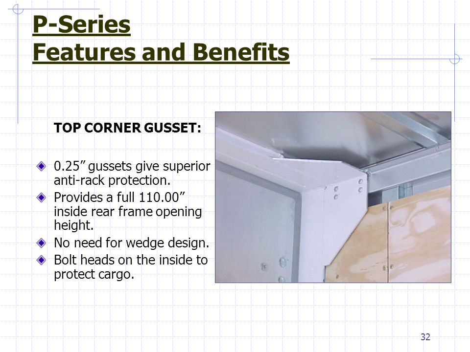 "32 TOP CORNER GUSSET: 0.25"" gussets give superior anti-rack protection. Provides a full 110.00"" inside rear frame opening height. No need for wedge de"