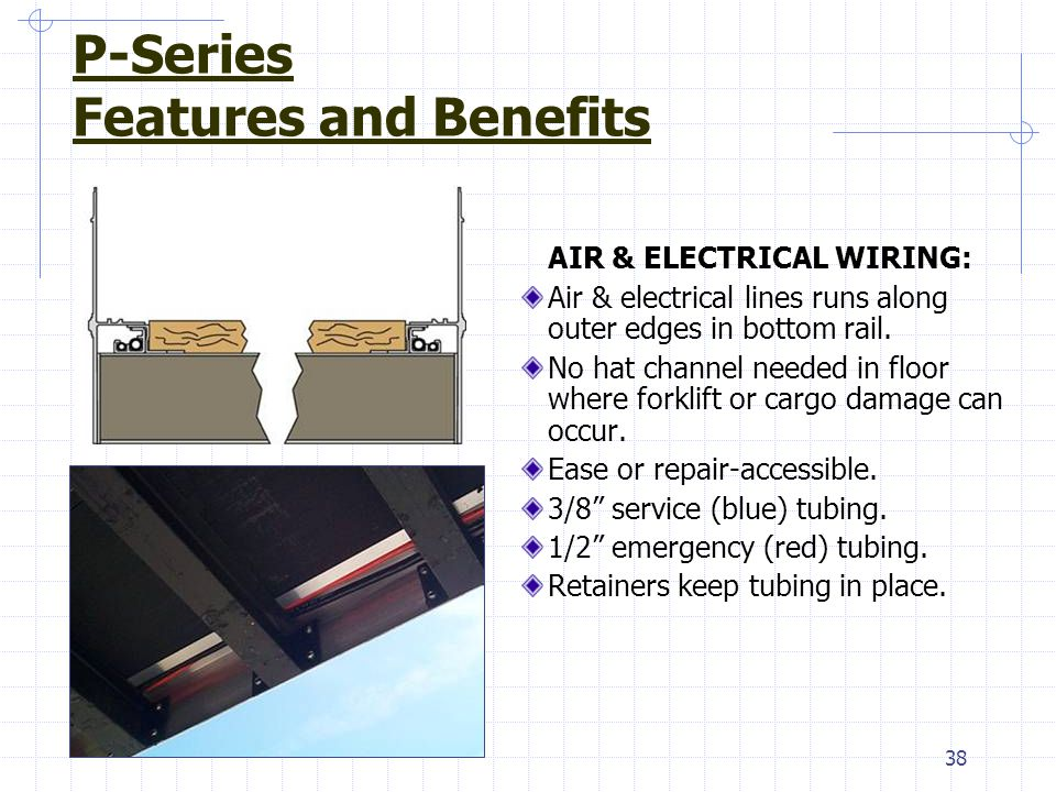 38 AIR & ELECTRICAL WIRING: Air & electrical lines runs along outer edges in bottom rail. No hat channel needed in floor where forklift or cargo damag
