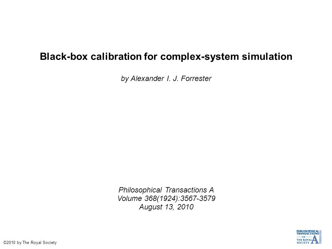 Black-box calibration for complex-system simulation by Alexander I.