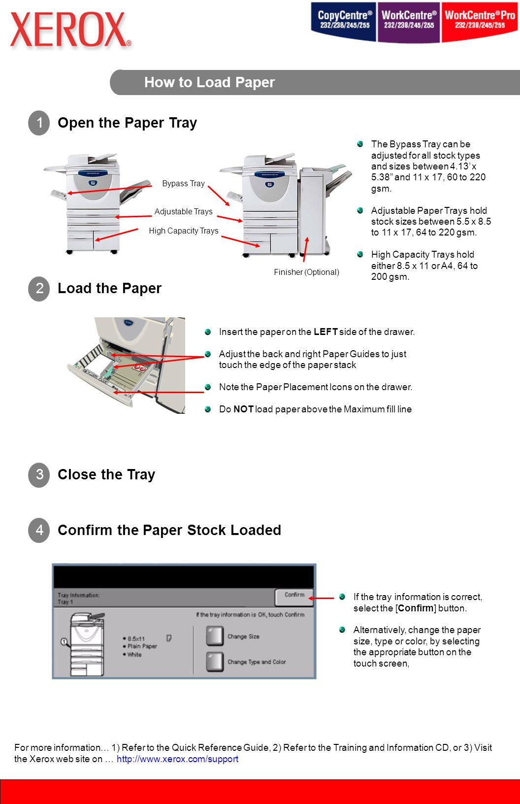 How to Load Paper Finisher (Optional) Bypass Tray Adjustable Trays High Capacity Trays The Bypass Tray can be adjusted for all stock types and sizes between 4.13' x 5.38 and 11 x 17, 60 to 220 gsm.