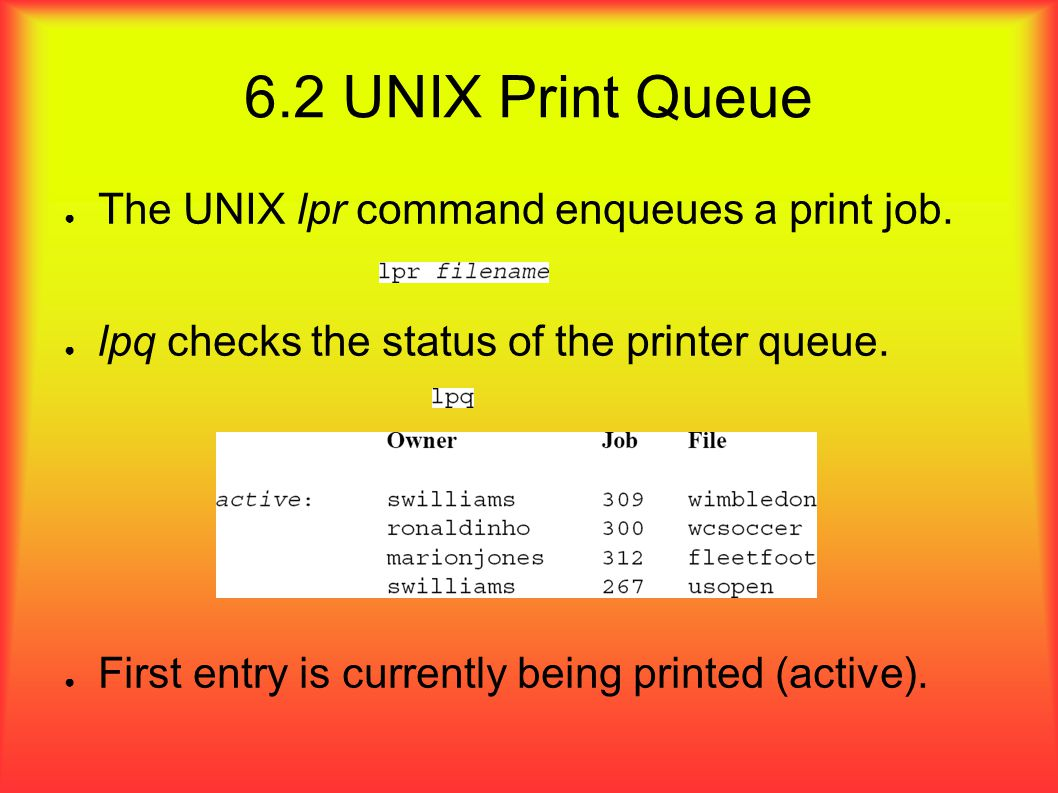 6.2 UNIX Print Queue ● The UNIX lpr command enqueues a print job.