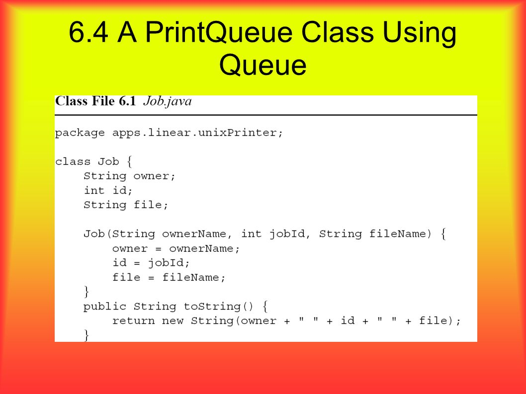 6.4 A PrintQueue Class Using Queue