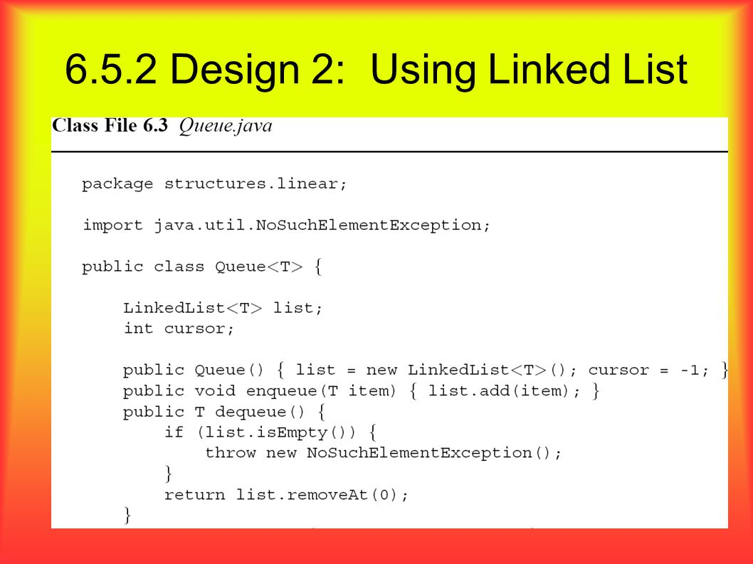 6.5.2 Design 2: Using Linked List