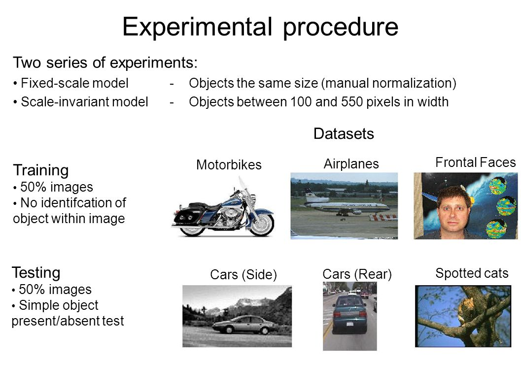 Experimental procedure Two series of experiments: Fixed-scale model - Objects the same size (manual normalization) Scale-invariant model - Objects between 100 and 550 pixels in width Datasets Training 50% images No identifcation of object within image Testing 50% images Simple object present/absent test Motorbikes Airplanes Frontal Faces Cars (Side) Cars (Rear) Spotted cats
