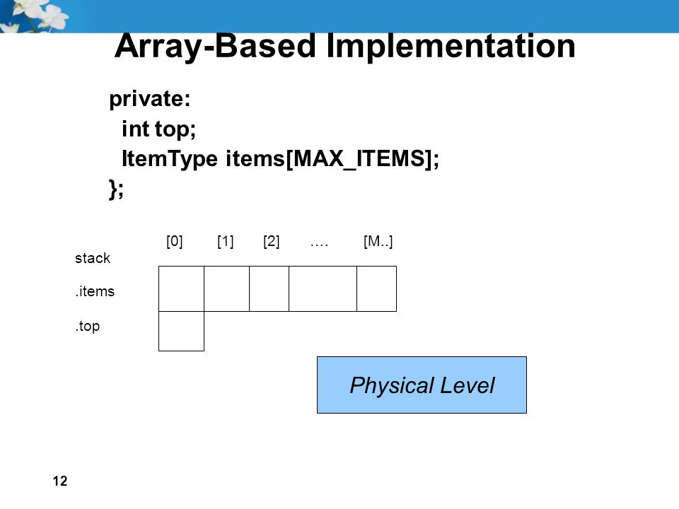 12 Array-Based Implementation private: int top; ItemType items[MAX_ITEMS]; }; [0] [1] [2] ….