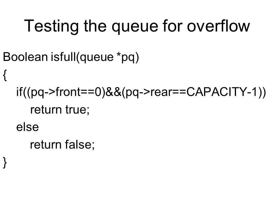 Testing the queue for overflow Boolean isfull(queue *pq) { if((pq->front==0)&&(pq->rear==CAPACITY-1)) return true; else return false; }