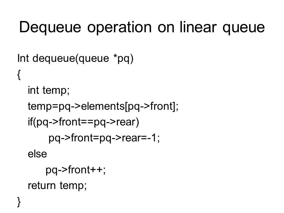 Dequeue operation on linear queue Int dequeue(queue *pq) { int temp; temp=pq->elements[pq->front]; if(pq->front==pq->rear) pq->front=pq->rear=-1; else pq->front++; return temp; }