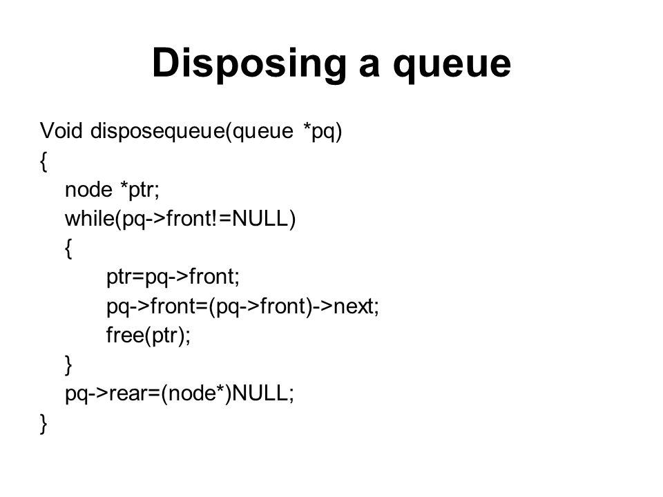Disposing a queue Void disposequeue(queue *pq) { node *ptr; while(pq->front!=NULL) { ptr=pq->front; pq->front=(pq->front)->next; free(ptr); } pq->rear=(node*)NULL; }