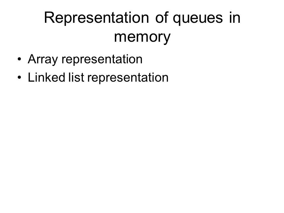 Representation of queues in memory Array representation Linked list representation