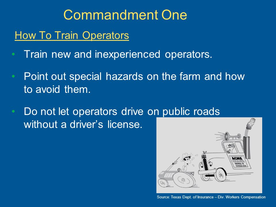 Have operator practice in large, level field or yard.