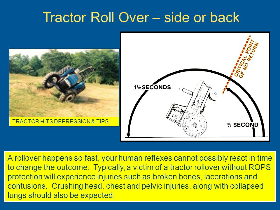 When the tractor has been left running, and the operator is not in the tractor seat, there is the possibility that the tractor will malfunction in some way, start moving, and run over you or bystanders.