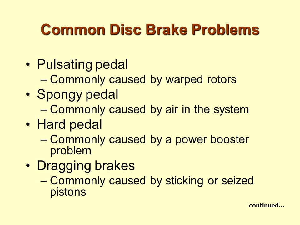 Common Disc Brake Problems Pulsating pedal –Commonly caused by warped rotors Spongy pedal –Commonly caused by air in the system Hard pedal –Commonly c