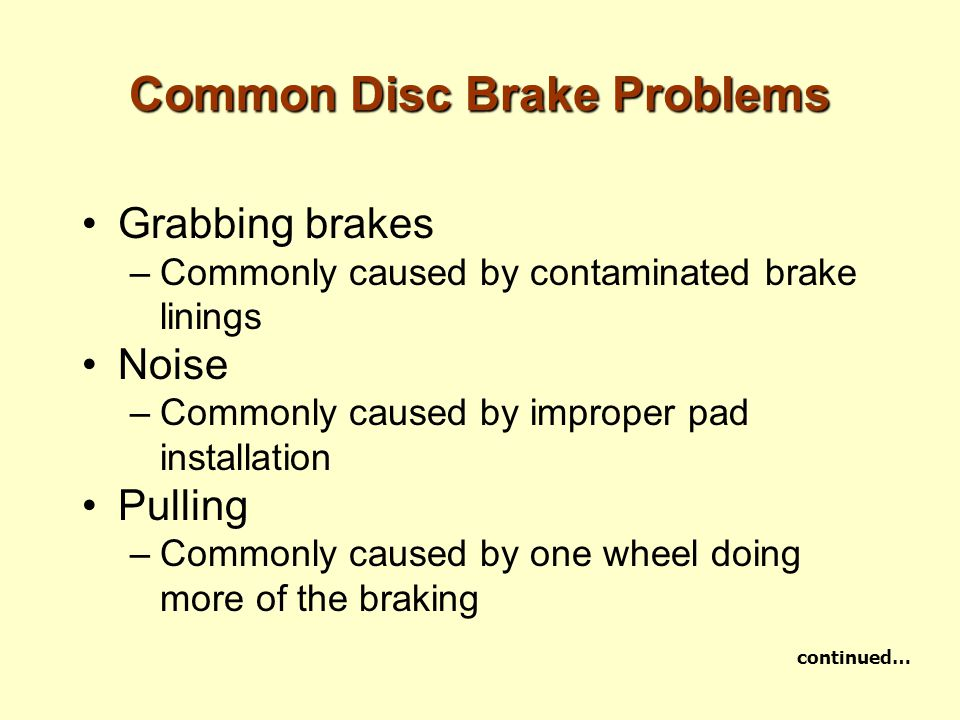 Common Disc Brake Problems Grabbing brakes –Commonly caused by contaminated brake linings Noise –Commonly caused by improper pad installation Pulling