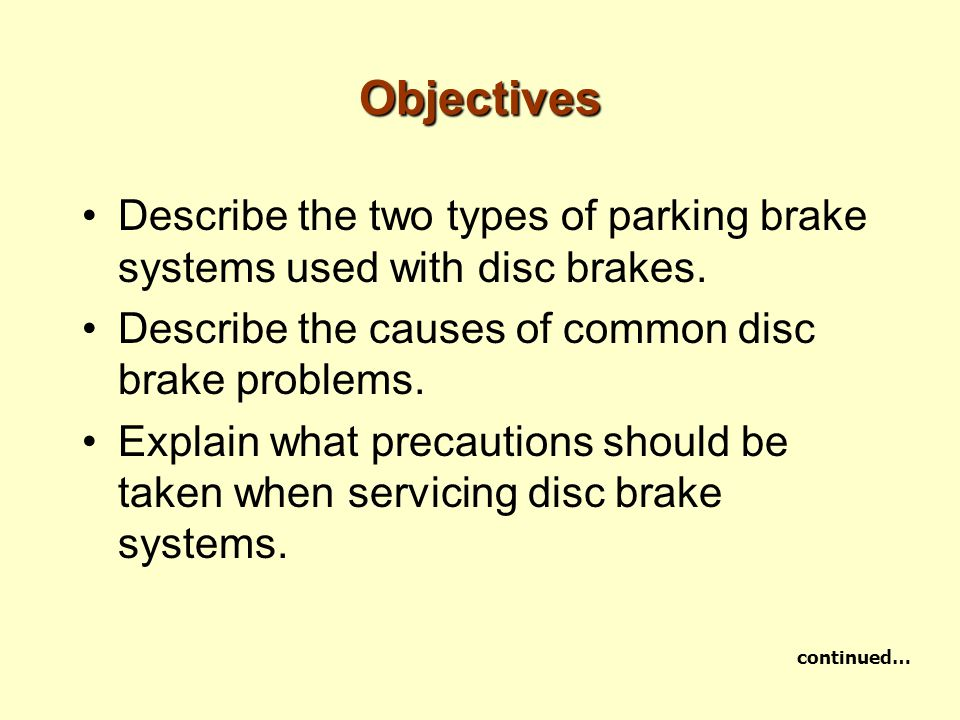 Objectives Describe the two types of parking brake systems used with disc brakes. Describe the causes of common disc brake problems. Explain what prec