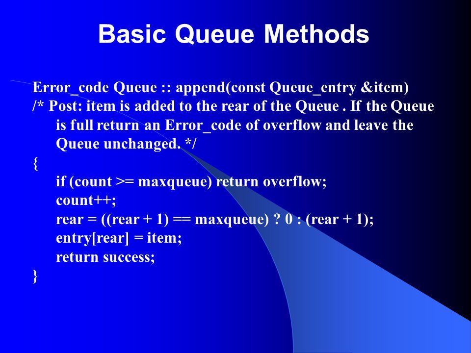 Basic Queue Methods Error_code Queue :: append(const Queue_entry &item) /* Post: item is added to the rear of the Queue. If the Queue is full return a