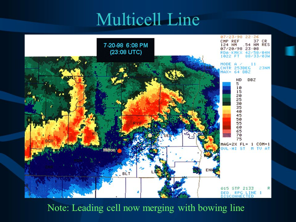 Note: Leading cell now merging with bowing line
