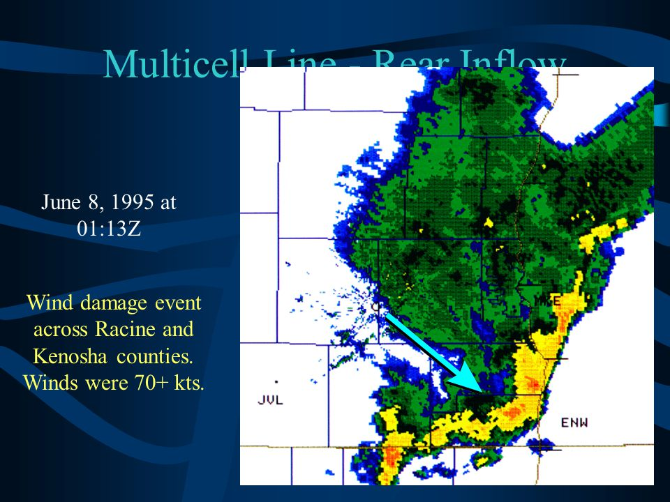Multicell Line - Rear Inflow Notch June 8, 1995 at 01:13Z Wind damage event across Racine and Kenosha counties. Winds were 70+ kts.