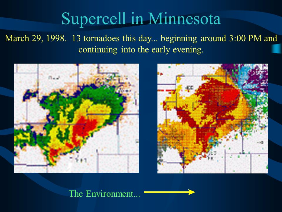 Supercell in Minnesota March 29, 1998. 13 tornadoes this day... beginning around 3:00 PM and continuing into the early evening. The Environment...