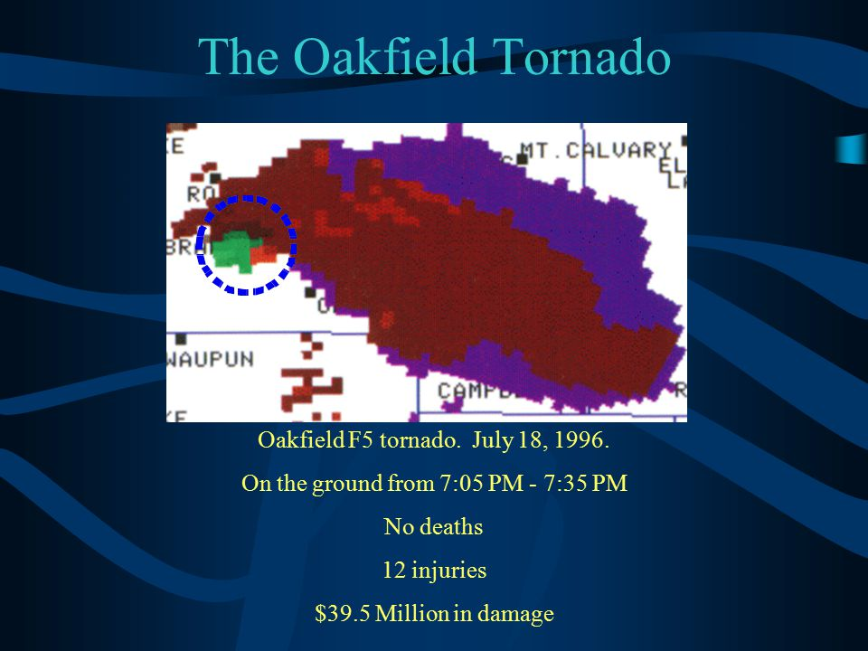 The Oakfield Tornado Oakfield F5 tornado. July 18, 1996. On the ground from 7:05 PM - 7:35 PM No deaths 12 injuries $39.5 Million in damage