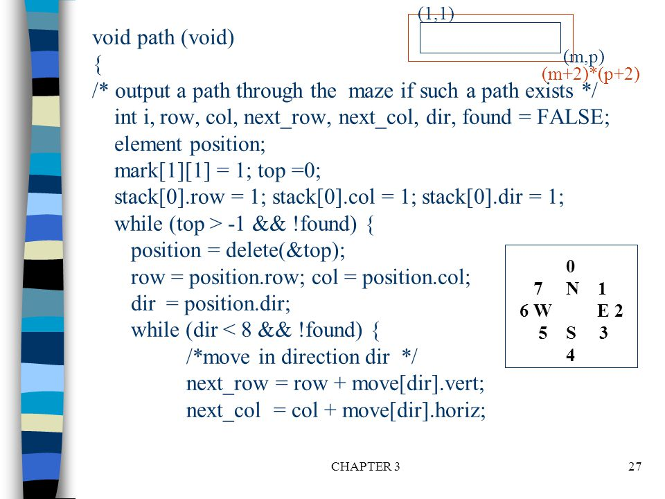 CHAPTER 327 void path (void) { /* output a path through the maze if such a path exists */ int i, row, col, next_row, next_col, dir, found = FALSE; ele