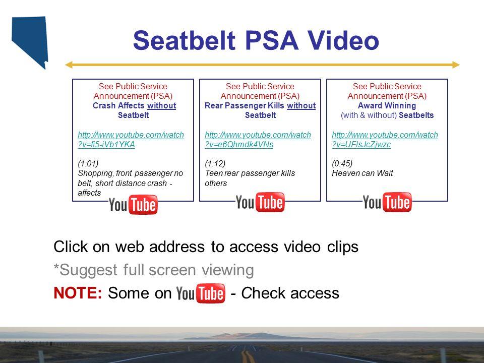 Seatbelt PSA Video See Public Service Announcement (PSA) Crash Affects without Seatbelt http://www.youtube.com/watch ?v=fi5-iVb1YKA (1:01) Shopping, f