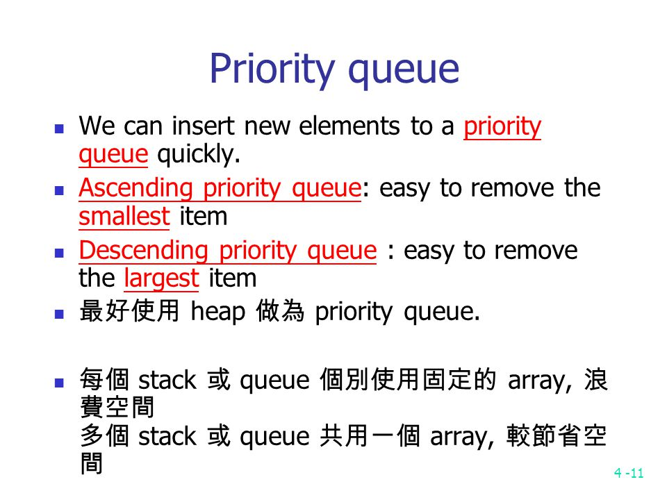 4 -11 Priority queue We can insert new elements to a priority queue quickly.