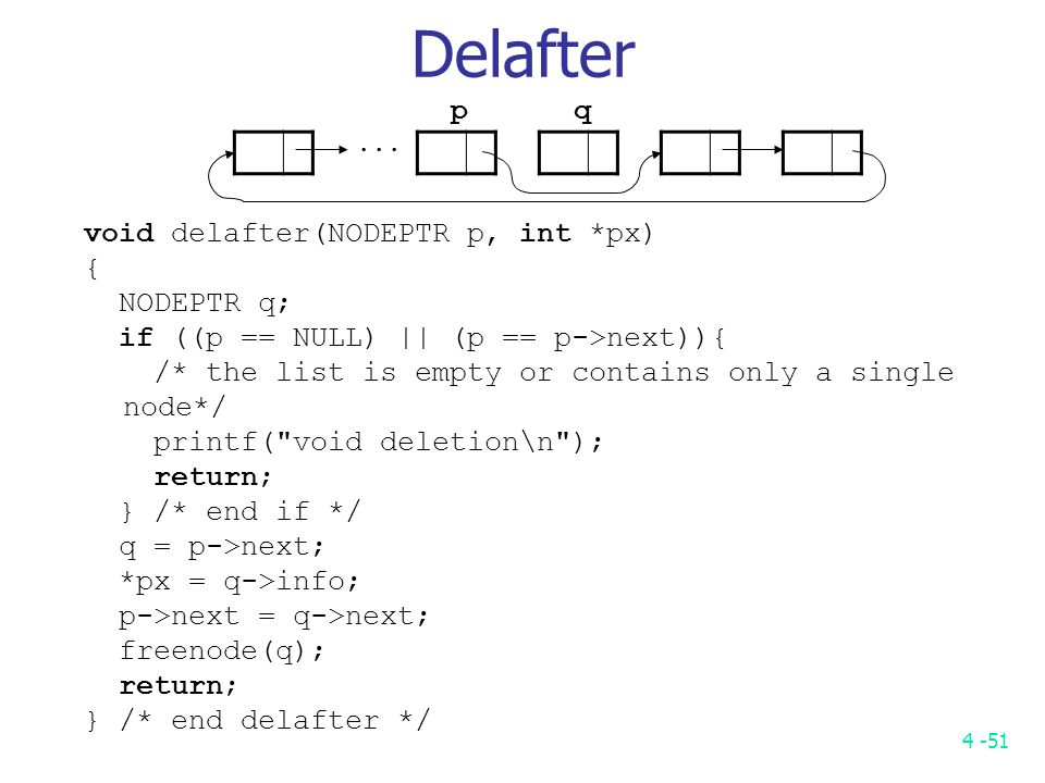 4 -51 Delafter void delafter(NODEPTR p, int *px) { NODEPTR q; if ((p == NULL) || (p == p->next)){ /* the list is empty or contains only a single node*/ printf( void deletion\n ); return; } /* end if */ q = p->next; *px = q->info; p->next = q->next; freenode(q); return; } /* end delafter */...