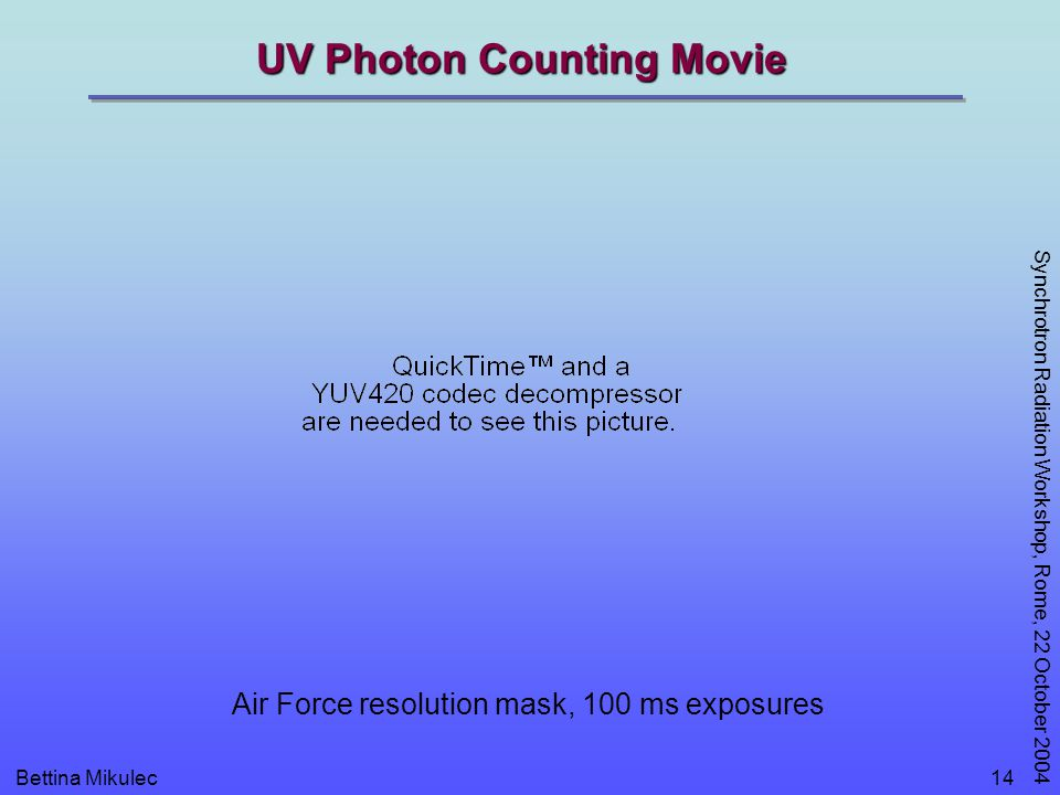 Bettina Mikulec Synchrotron Radiation Workshop, Rome, 22 October 2004 14 UV Photon Counting Movie Air Force resolution mask, 100 ms exposures