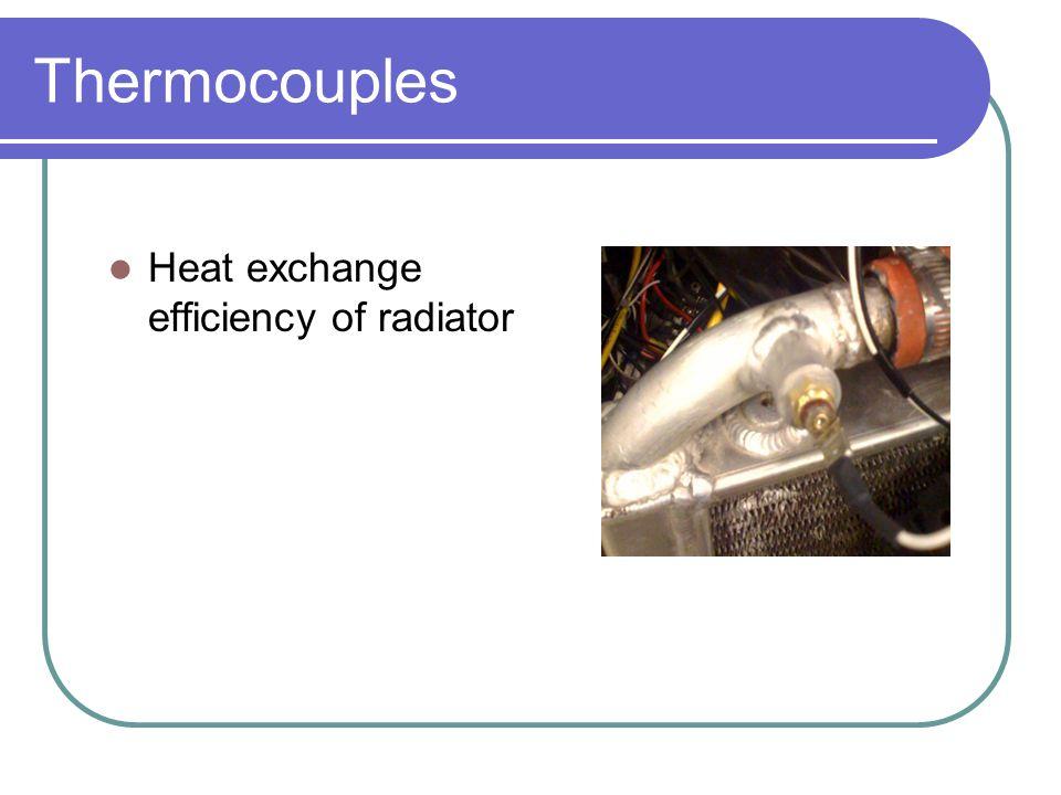 Thermocouples Heat exchange efficiency of radiator