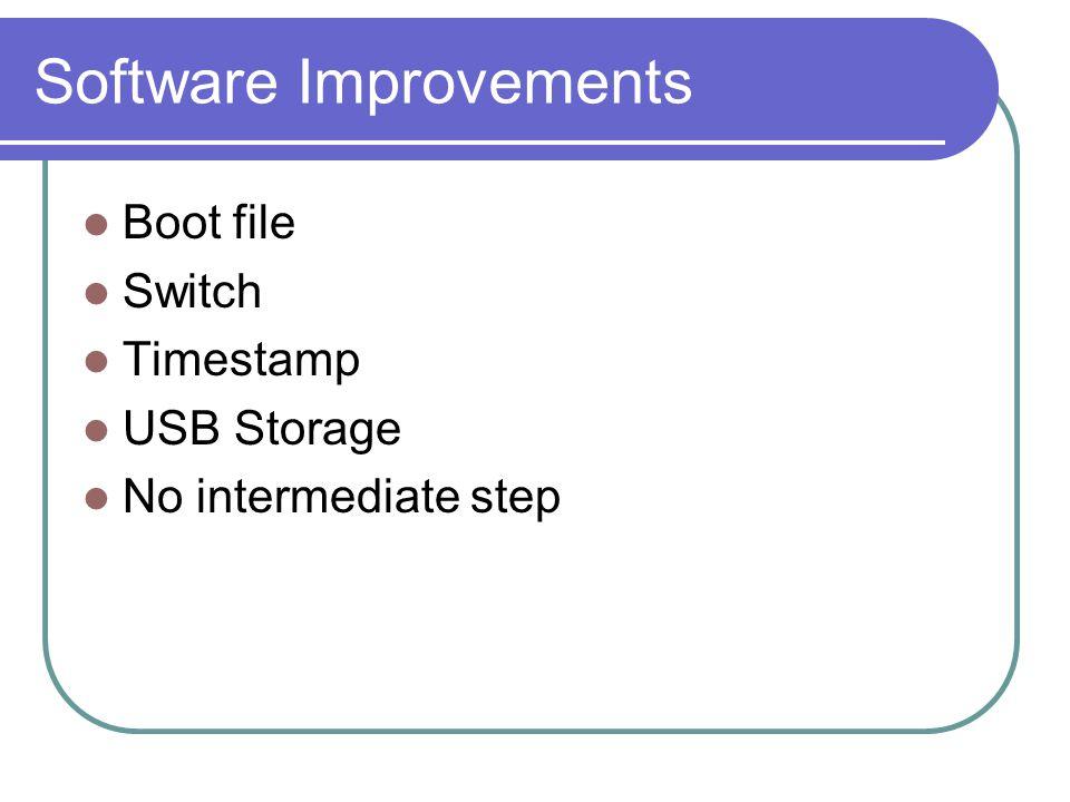 Software Improvements Boot file Switch Timestamp USB Storage No intermediate step