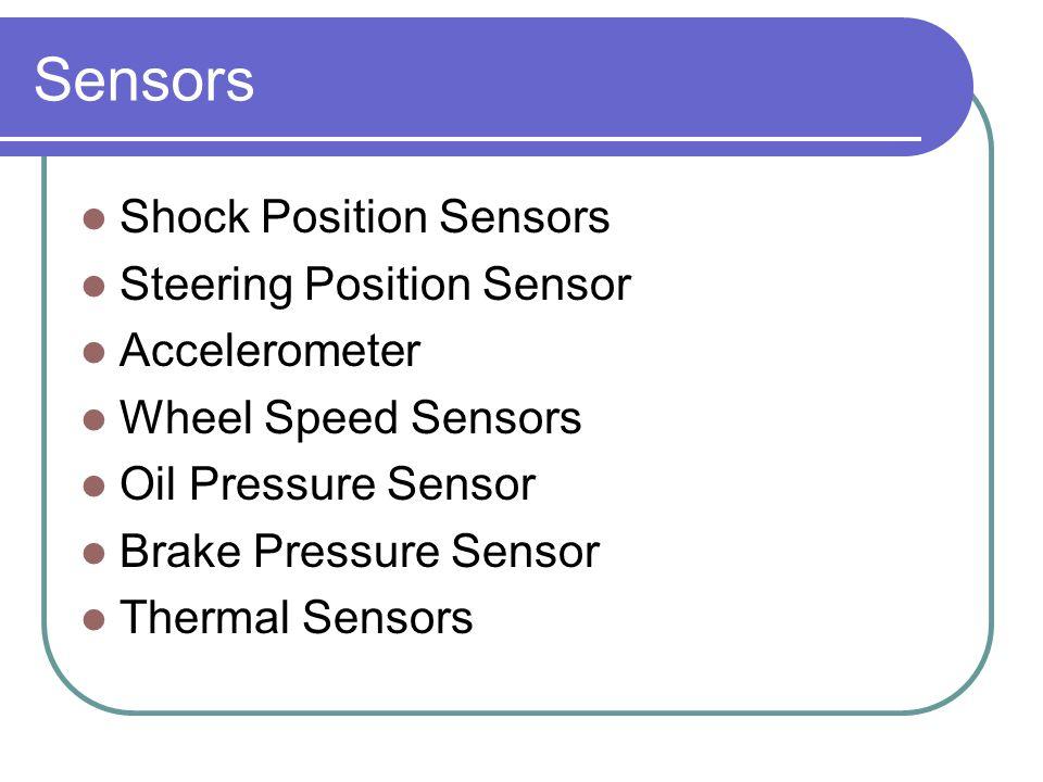 Sensors Shock Position Sensors Steering Position Sensor Accelerometer Wheel Speed Sensors Oil Pressure Sensor Brake Pressure Sensor Thermal Sensors