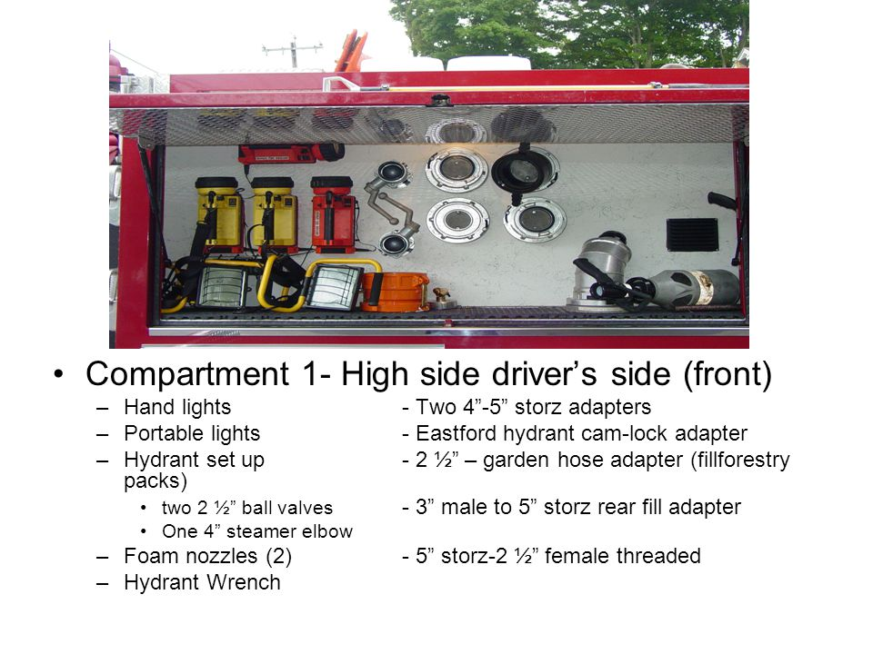 Compartment 1- High side driver's side (front) –Hand lights- Two 4 -5 storz adapters –Portable lights- Eastford hydrant cam-lock adapter –Hydrant set up - 2 ½ – garden hose adapter (fillforestry packs) two 2 ½ ball valves - 3 male to 5 storz rear fill adapter One 4 steamer elbow –Foam nozzles (2) - 5 storz-2 ½ female threaded –Hydrant Wrench