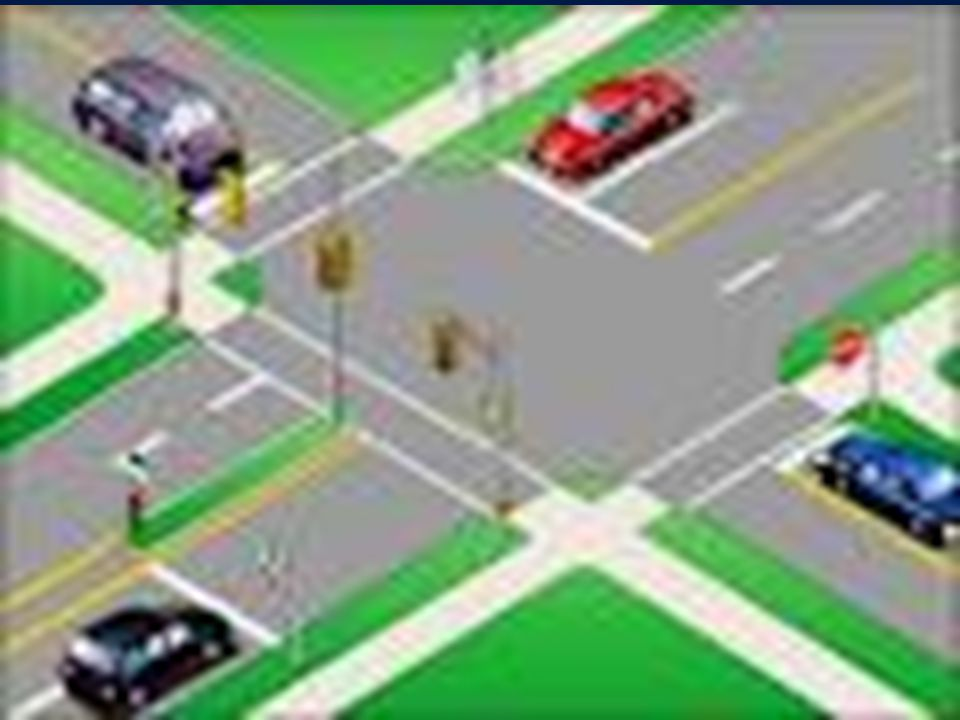 Controlled Intersections Controlled Intersections Joining Traffic – Right Turn –Search front zones for pedestrians & traffic turning onto your street –After stop, search 90-degrees left & right, evaluate target zone by checking all front zones –When clear & gap of 7 seconds or more, begin turn toward target area and accelerate –Turn your head toward target path as you accelerate Joining Traffic – Left Turn –Search front zones for pedestrians & traffic turning onto your street –After stop, search 90-degrees left & right, evaluate target zone by checking all front zones –When clear & gap of 7 seconds or more, begin turn toward target area and accelerate –Turn so that you end up in lane position 2 & adjust speed
