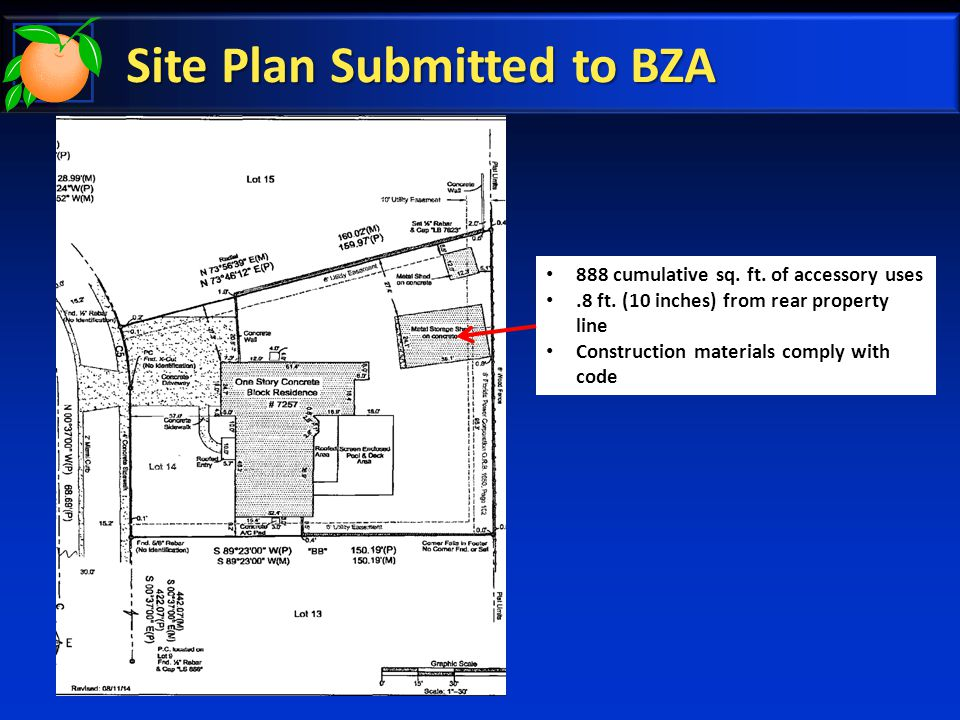 Site Plan Submitted to BZA 888 cumulative sq. ft.