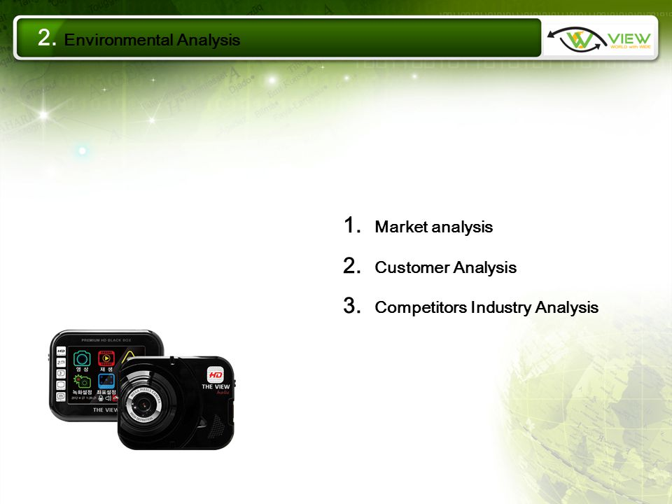 1. Market analysis 2. Customer Analysis 3. Competitors Industry Analysis 2. Environmental Analysis