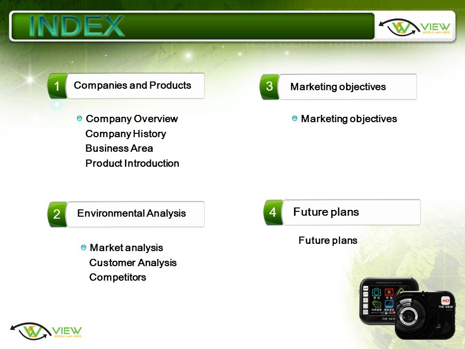 3 4 1 Companies and Products Marketing objectives 2 Environmental Analysis Future plans Company Overview Company History Business Area Product Introduction Market analysis Customer Analysis Competitors Future plans Marketing objectives