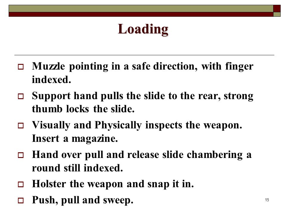 15 Loading  Muzzle pointing in a safe direction, with finger indexed.