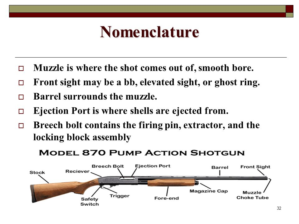 32 Nomenclature  Muzzle is where the shot comes out of, smooth bore.
