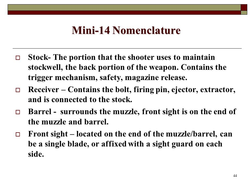 44 Mini-14 Nomenclature  Stock- The portion that the shooter uses to maintain stockwell, the back portion of the weapon.
