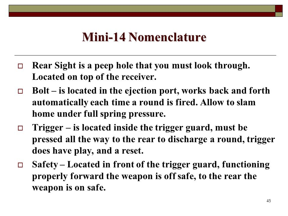 45 Mini-14 Nomenclature  Rear Sight is a peep hole that you must look through.