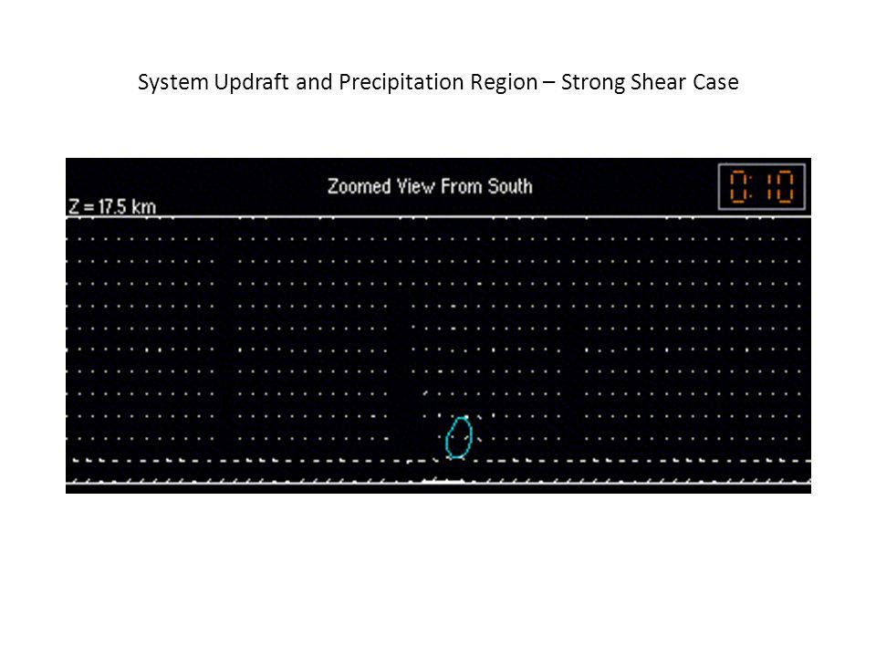 System Updraft and Precipitation Region – Strong Shear Case