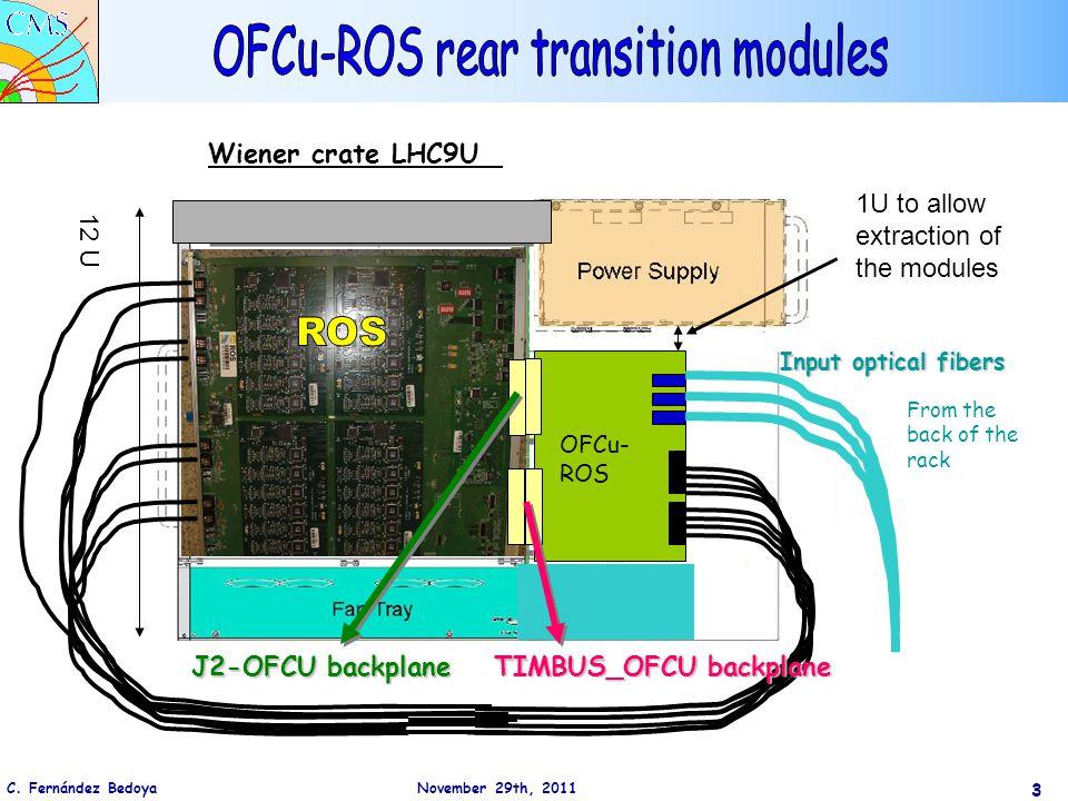 C. Fernández Bedoya November 29th, 2011 3 Wiener crate LHC9U 12 U OFCu- ROS Input optical fibers From the back of the rack TIMBUS_OFCU backplane J2-OF