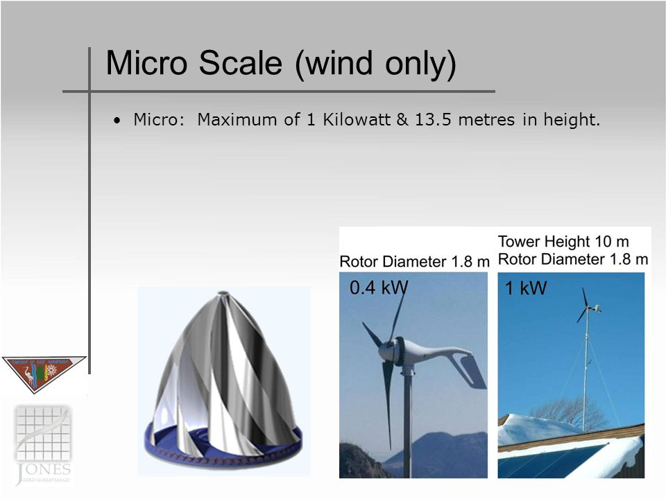 Micro Scale (wind only) Micro: Maximum of 1 Kilowatt & 13.5 metres in height.