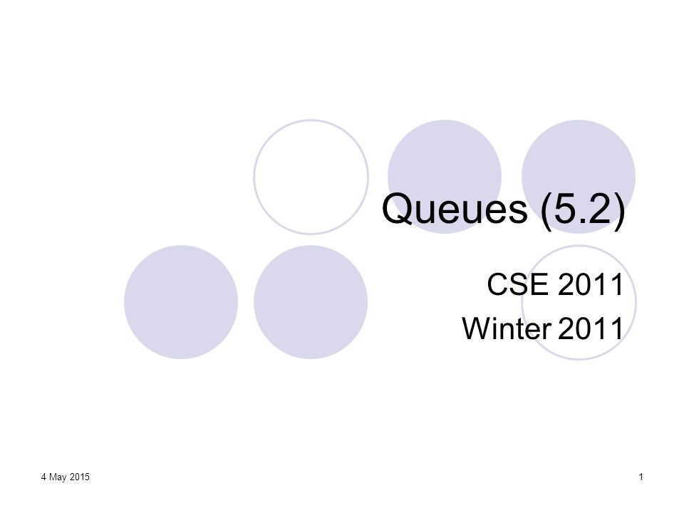 12 Circular Array Implementation (2) Queue size = (N – f + r) mod N → verify this Queue is empty: f = r When r reaches and overlaps with f, the queue is full: r = f To distinguish between empty and full states, we impose a constraint: Q can hold at most N – 1 objects (one cell is wasted).