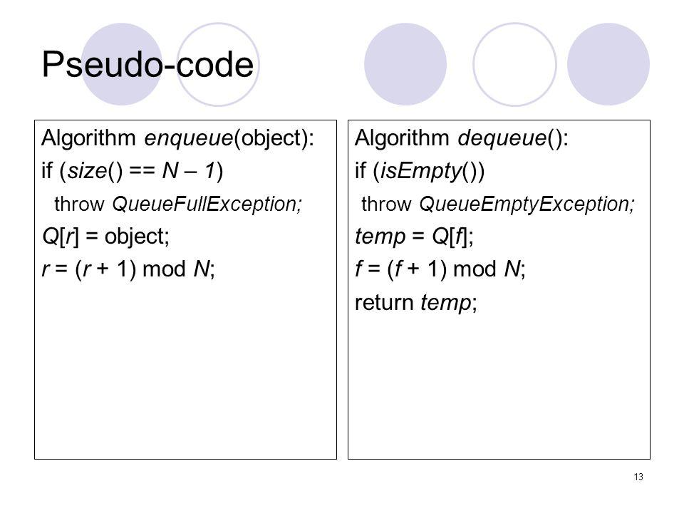 13 Pseudo-code Algorithm enqueue(object): if (size() == N – 1) throw QueueFullException; Q[r] = object; r = (r + 1) mod N; Algorithm dequeue(): if (isEmpty()) throw QueueEmptyException; temp = Q[f]; f = (f + 1) mod N; return temp;