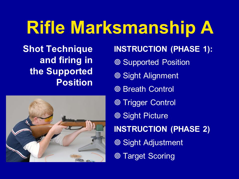 Rifle Marksmanship A Shot Technique and firing in the Supported Position INSTRUCTION (PHASE 1):  Supported Position  Sight Alignment  Breath Contro