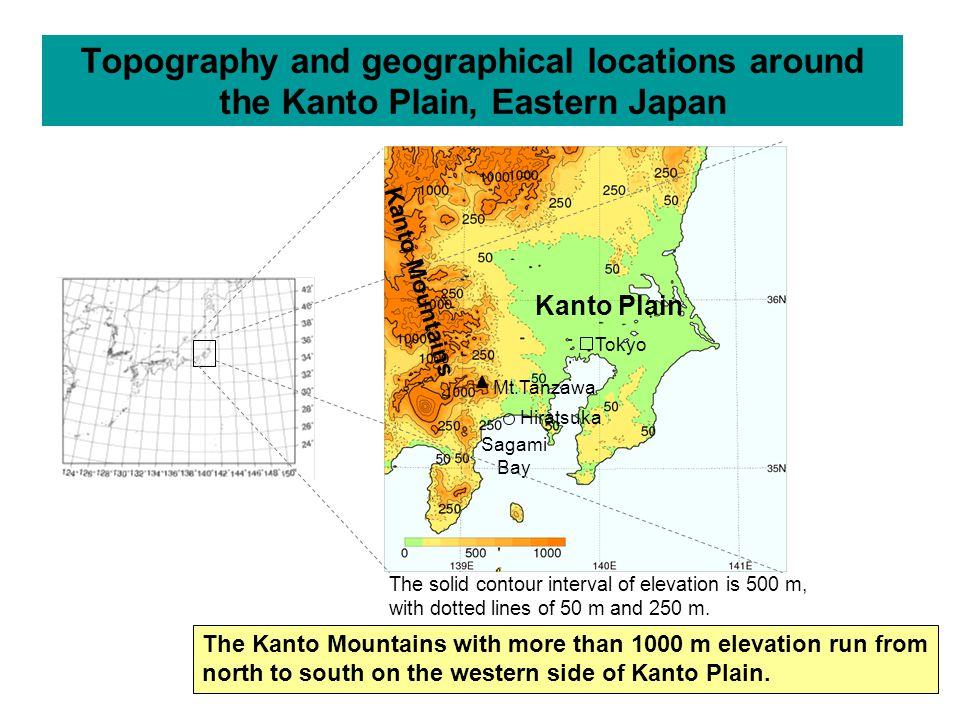 Topography and geographical locations around the Kanto Plain, Eastern Japan Mt.Tanzawa Sagami Bay Tokyo Hiratsuka Kanto Plain Kanto Mountains The soli