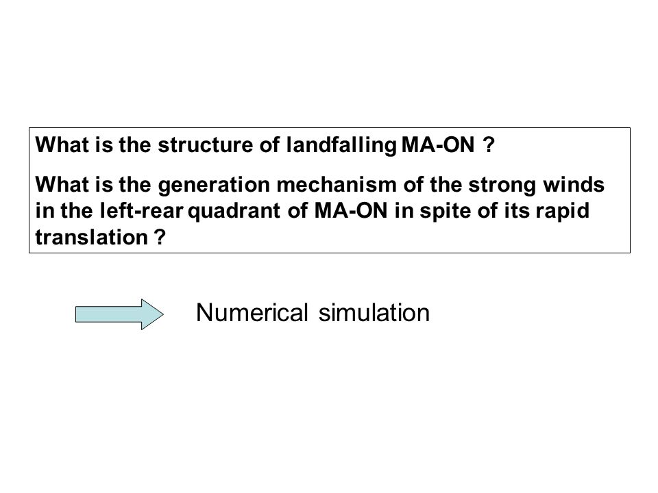 What is the structure of landfalling MA-ON ? What is the generation mechanism of the strong winds in the left-rear quadrant of MA-ON in spite of its r