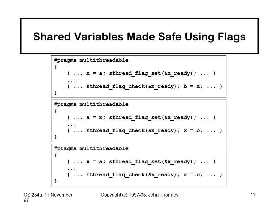 CS 284a, 11 November 97 Copyright (c) 1997-98, John Thornley11 Shared Variables Made Safe Using Flags #pragma multithreadable { {... x = a; sthread_fl