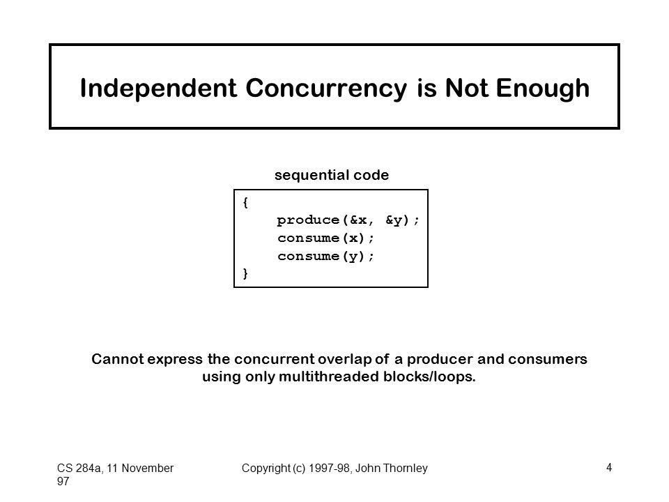 CS 284a, 11 November 97 Copyright (c) 1997-98, John Thornley4 Independent Concurrency is Not Enough { produce(&x, &y); consume(x); consume(y); } sequential code Cannot express the concurrent overlap of a producer and consumers using only multithreaded blocks/loops.